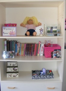 I love how the shelves are turning out, I think I'm going to get her a new shelf though.  I think I want a black one.